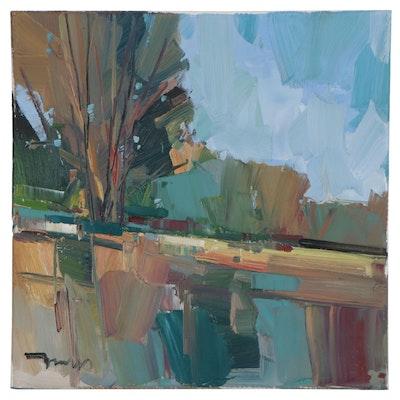 "Jose Trujillo Oil Painting ""Peaceful Park,"" 2021"
