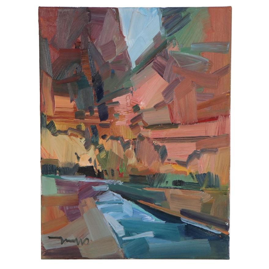 "Jose Trujillo Oil Painting ""Canyon River,"" 2021"