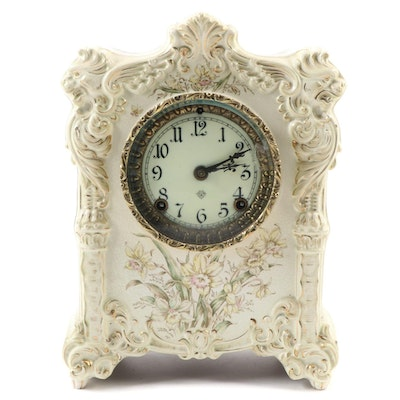 Victorian Ansonia Porcelain Mantle Clock, Late 19th To Early 20th  Century