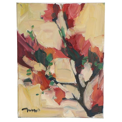"Jose Trujillo Oil Painting ""Red Spring Buds,"" 2021"
