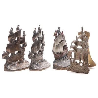 Bronzed Cast Iron Spanish Galleon Ship Bookends with Doorstop and Door Knocker