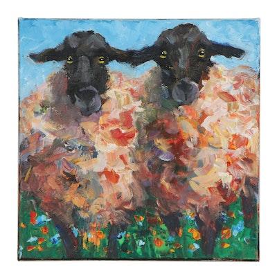 Elle Raines Acrylic Painting of Sheep, 21st Century