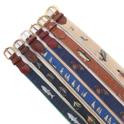 Dan Place Fly Fishing Needlepoint Leather Belt and Other Ribbon Sporting Belts
