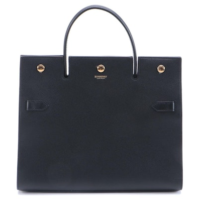 Burberry Medium Title Bag in Black Grained Calfskin