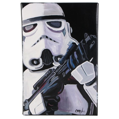 Chris Cargill Acrylic Painting of a Stormtrooper, 21st Century
