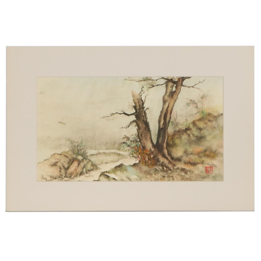 East Asian Watercolor Painting of Forest with Nearby Lake, Mid-20th Century