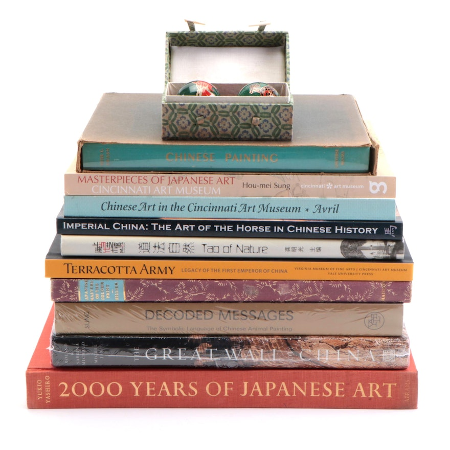Asian Themed Art Books and Cloisonné Baoding Balls