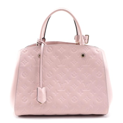 Louis Vuitton Montaigne MM Satchel in Rose Poudre Monogram Empreinte Leather