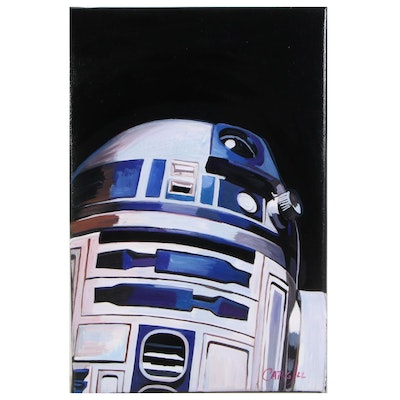 Chris Cargill Acrylic Painting of R2D2, 21st Century