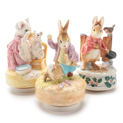 "Schmid ""Mrs. Tabitha Twitchit"" and Other Beatrix Potter Musical Figurines"