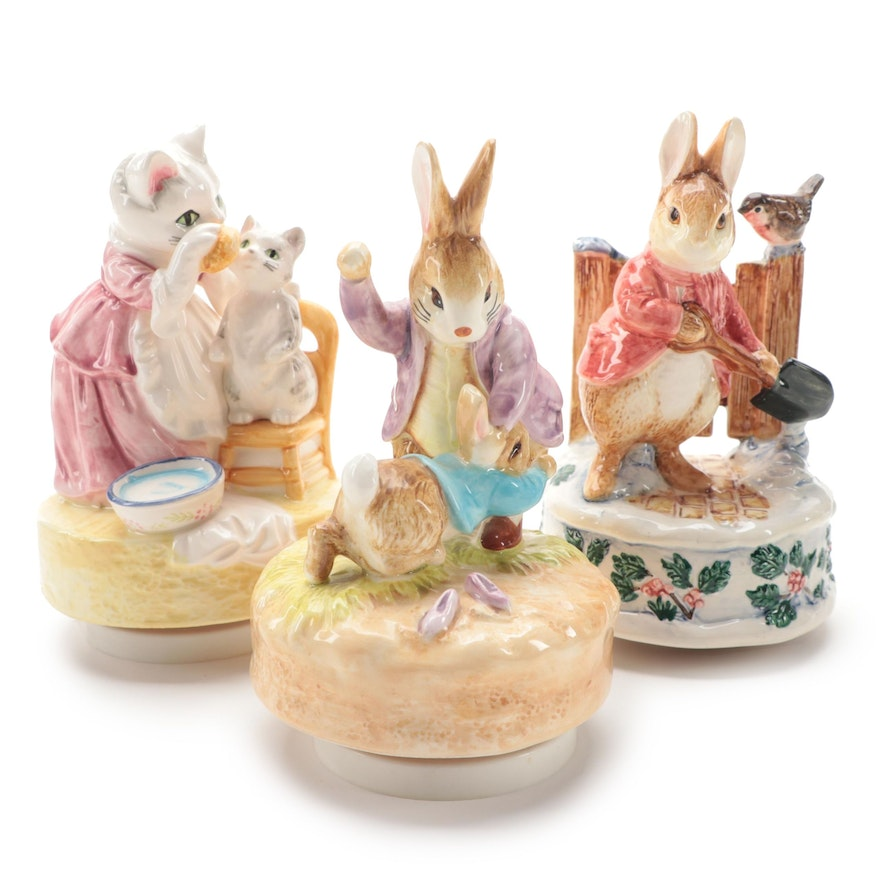 """Schmid """"Mrs. Tabitha Twitchit"""" and Other Beatrix Potter Musical Figurines"""
