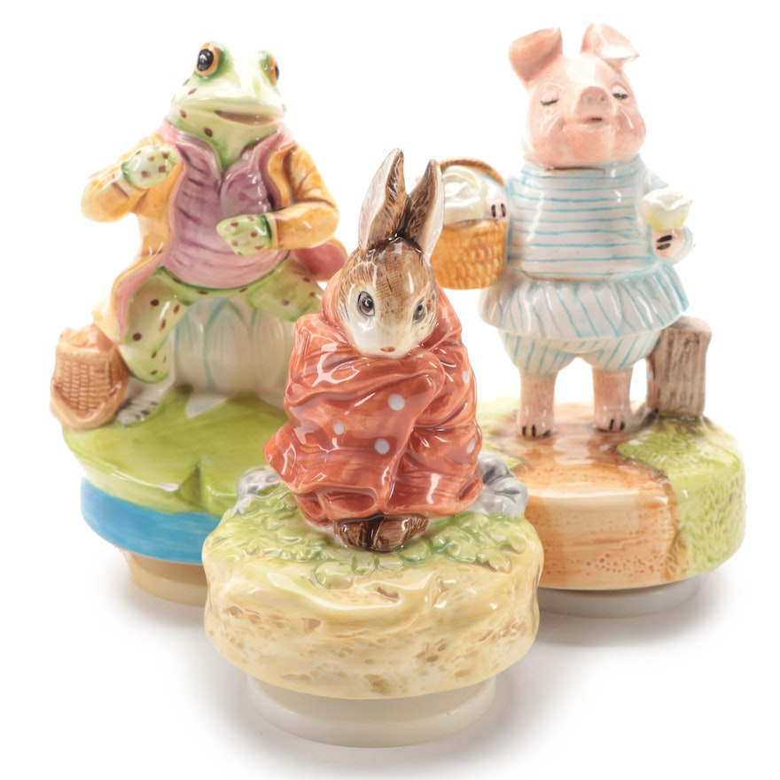 """Schmid """"Little Pig Robinson"""" and Other Beatrix Potter Musical Figurines"""