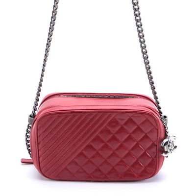 Chanel Coco Boy Small Camera Case Bag in Quilted Red Leather