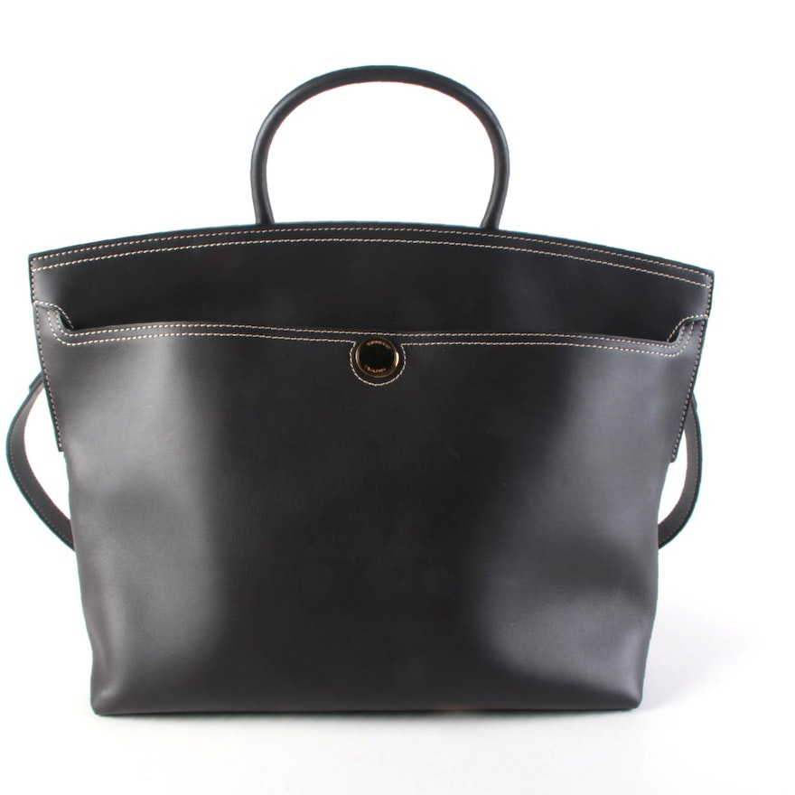 Burberry Society Convertible Top Handle Tote in Contrast Stitched Black Leather