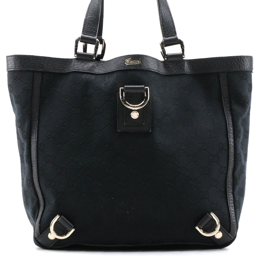 Gucci Abbey D-Ring Black GG Canvas Small Tote with Leather Trim