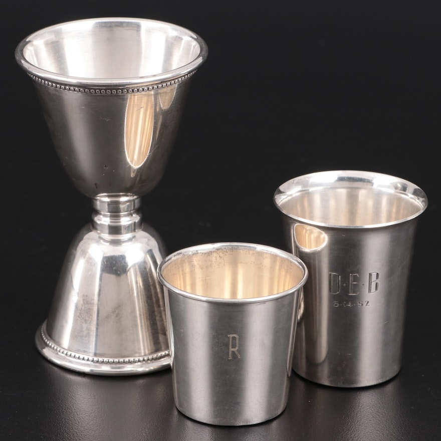 """Mark J. Scearce """"Presidential"""" Sterling Silver Double Jigger and Other Jiggers"""