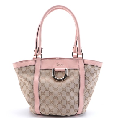 Gucci GG Canvas and Pink Leather D-Ring Small Bucket Tote Bag