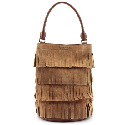 Burberry Prorsum Tan Suede and Leather Fringe Bucket Bag