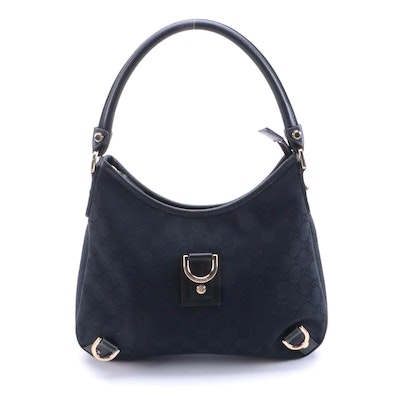 Gucci Abbey Hobo Shoulder Bag in Black GG Canvas and Leather