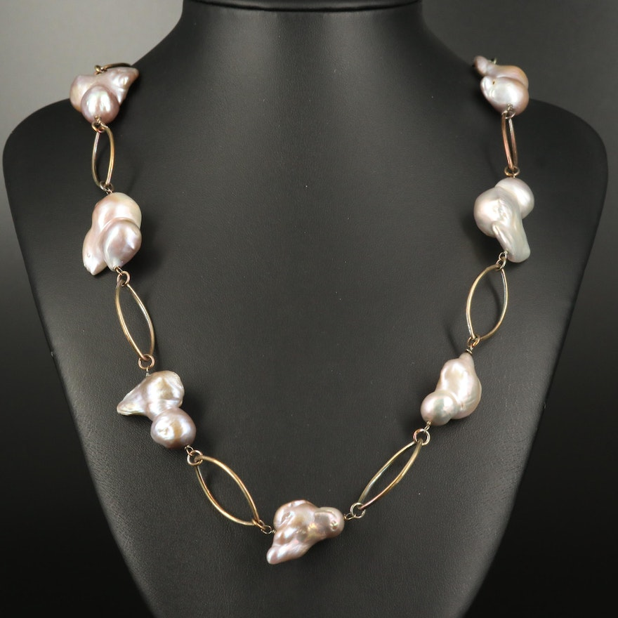 Sterling Baroque Pearl Link Necklace