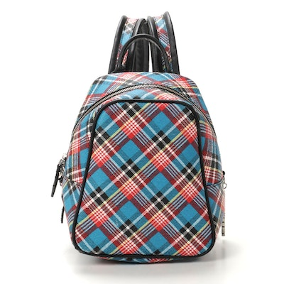 "Vivienne Westwood Anglomania Backpack in Blue ""Shuka Tartan"" Faux Leather"
