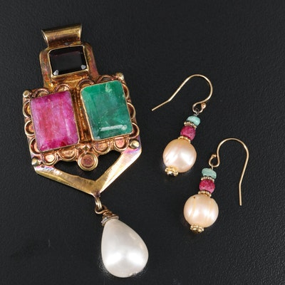 Slide Pendant and Earrings with Garnet, Sillimanite and Faux Pearl