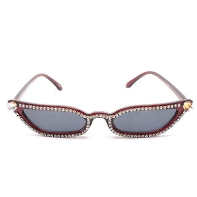 Rhinestone Embellished Red Frame Thin Cat Eye Sunglasses