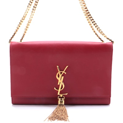 Yves Saint Laurent Classic Monogram Tassel Flap Bag in Red Leather