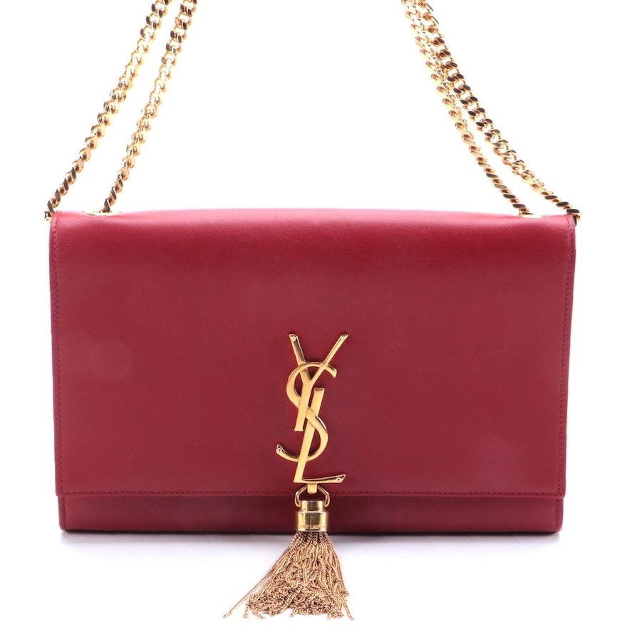 Yves Saint Laurent Classic Monogram Tassel Flap Bag in Red Leather
