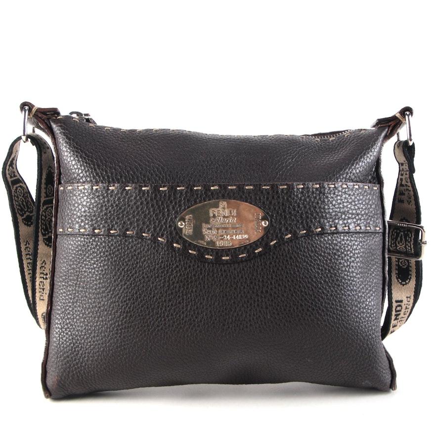 Fendi Selleria Contrast Stitch Messenger Bag in Brown Leather