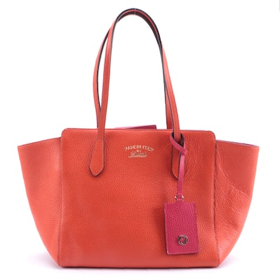 Gucci Swing Tote in Orange and Pink Grained Calfskin Leather