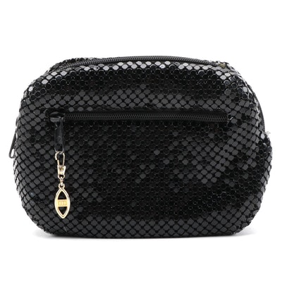 Black Enameled Metal Mesh Belt Bag