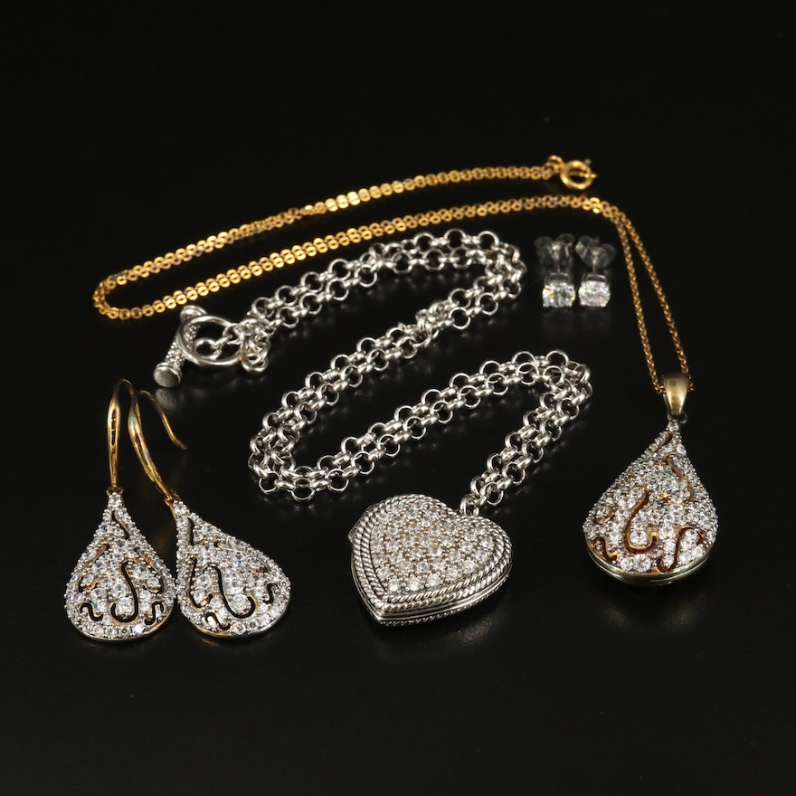 Sterling Heart and Teardrop Jewelry with Cubic Zirconia