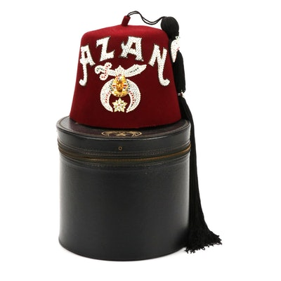 Shriners Fez Hat, Azan Shrine No. 182 of Melbourne, Florida with Hat Box