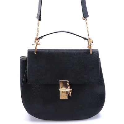 Chloé Drew Shoulder Bag in Black Grained Leather