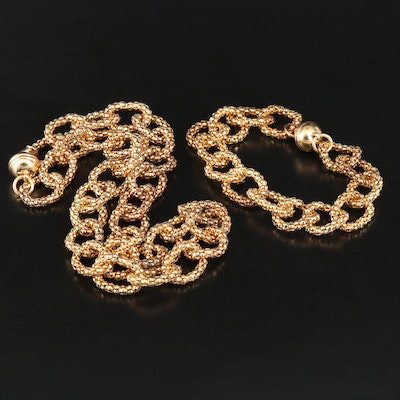 Sterling Silver Popcorn Chain Link Bracelet and Necklace Set