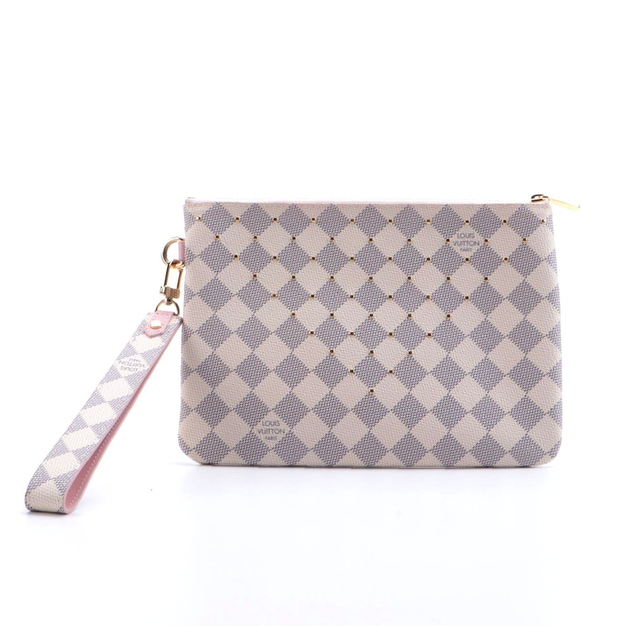 Louis Vuitton Studded City Wristlet Pouch in Damier Azur