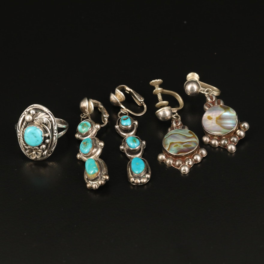 Sterling Foliate Ring and Dangle Earrings with Abalone and Turquoise
