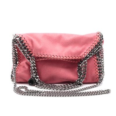 Stella McCartney Coral Pink Mini Shaggy Deer Falabella Fold Over Crossbody Bag