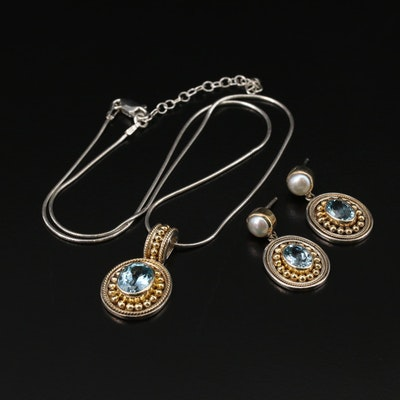 Sterling Silver Topaz and Pearl Necklace and Earring Set