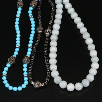 Selected Beryl, Spinel and Cubic Zirconia Beaded Necklaces