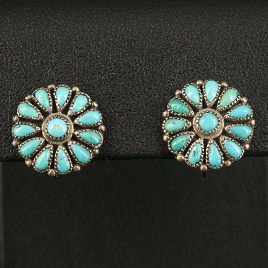 Sterling Turquoise Petit Point Earrings with Screw Backs