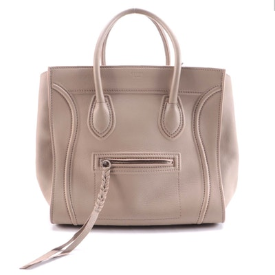 Céline Phantom Taupe Grained Leather Top Handle Bag