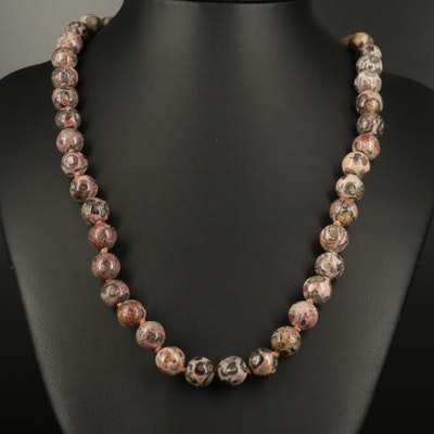 Individually Knotted Jasper Bead Necklace