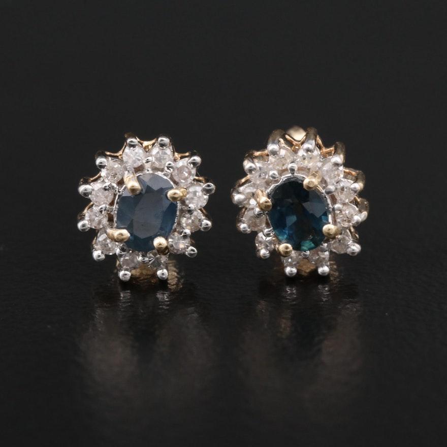 14K Sapphire and Diamond Halo Stud Earrings