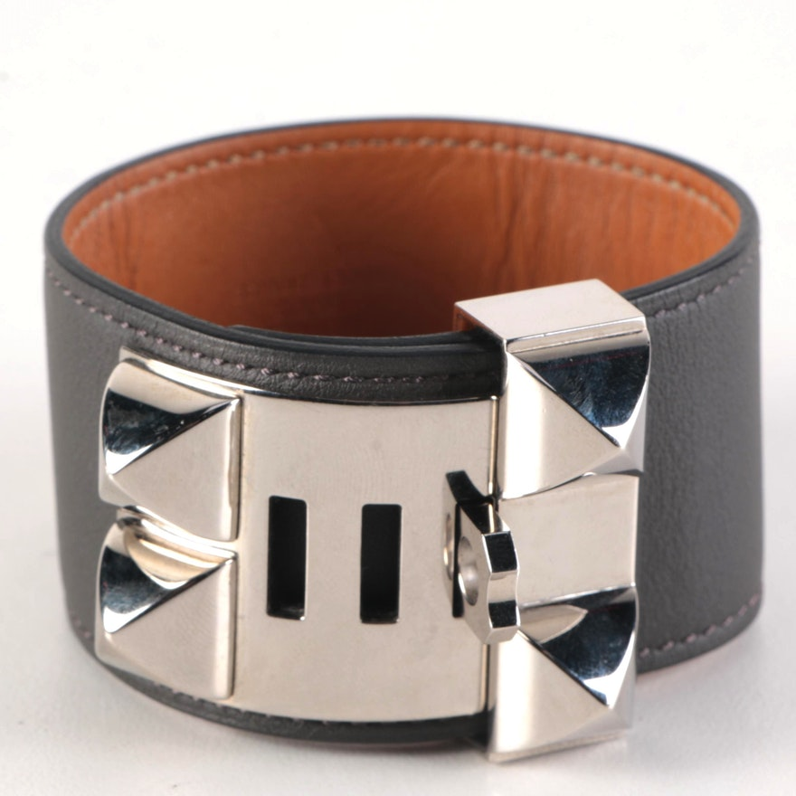 Hermès Palladium Plated Collier de Chein Leather Cuff Bracelet