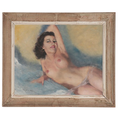 "Pál Fried Oil Painting ""Reclining Nude,"" Mid-20th Century"