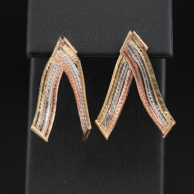 14K Tri-Color Gold Herringbone Chevron Earrings