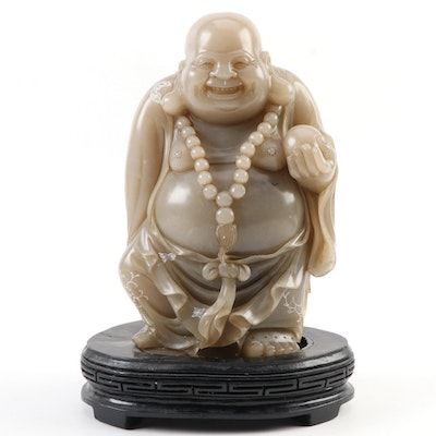 Chinese Style Carved Soapstone Budai Figurine