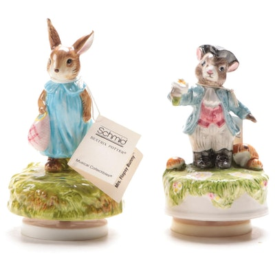 "Schmid ""Mrs. Flopsy Bunny"" and ""Colonial Mouse"" Musical Figurines"